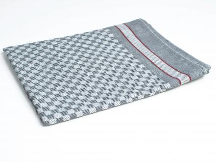 KARO šedá - lněný ručník - LM0022