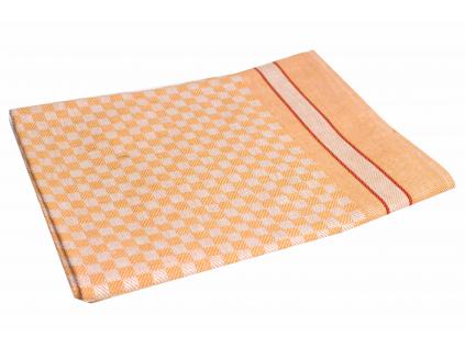 KARO oranžová - lněný ručník - LM0025