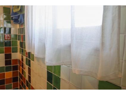Lněná záclona s poutky polobělené - 50% len - LZ0001