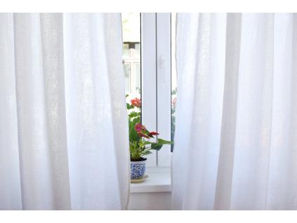 Lněný závěs Simple bílý - 235 cm
