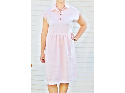 Lněná šaty GLAMI růžové - SS0129_42