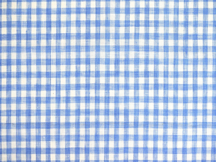 Lněná látka modrá kostka tenká - BLX025