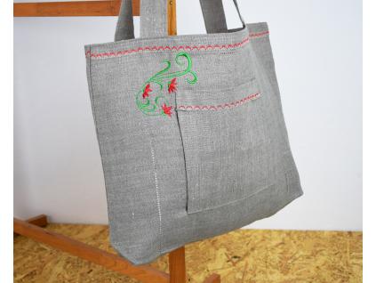 Lněná taška Květinka červená - BL0161_02