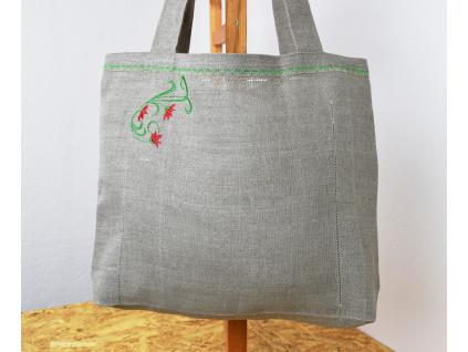 Lněná taška Květinka zelená - BL0161_01