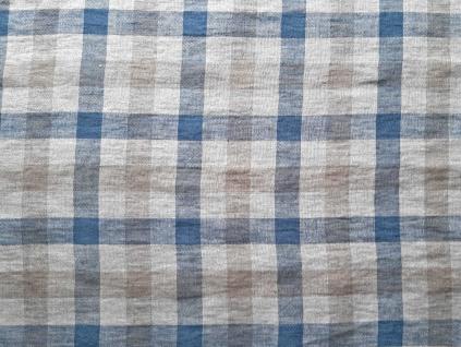 Lněná látka kostka šedo-modrá - LIX017
