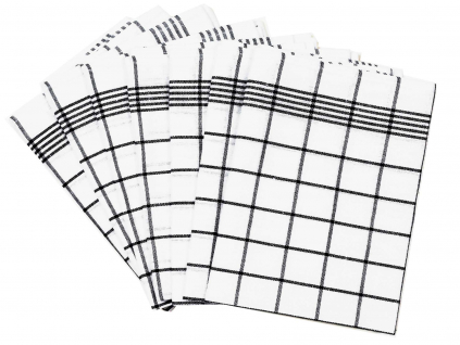Lněná utěrka černá klasika - 7 kusů - FLS008