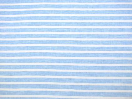 Modrý proužek - lněná látka měkčená - BLX052