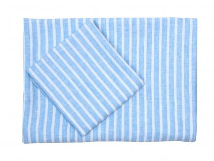 Modrý proužek - Lněné povlečení - 100% LEN - SS0214_SV