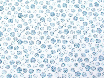 Modré tečky - lněná látka měkčená - BLX060