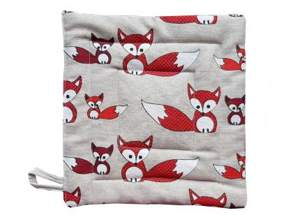 Lněná chňapka s liškami - SS0251