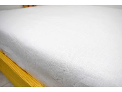 Bílé prostěradlo na jednolůžko měkčené - 100% LEN - SS0249_SV