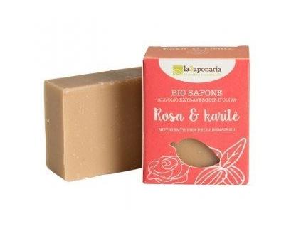 laSaponaria Tuhé olivové mýdlo BIO - Růžový olej a bambucké máslo (100 g) - EN0010