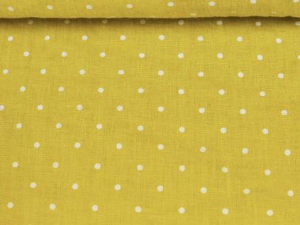 Lněná látka citrónová s puntíky měkčená - LIX031