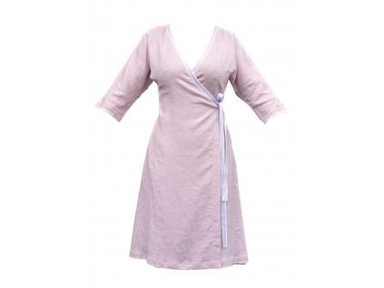 Lněné šaty zavinovací Hana - starorůžové - BL0189_50