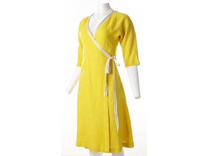 Lněné šaty zavinovací Hana - žluté - BL0190_50