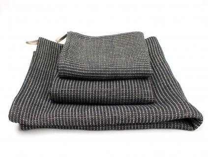 Lněný ručník vaflový černý - SS0283_02