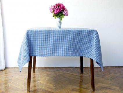 Kara modrá kostka - lněný ubrus