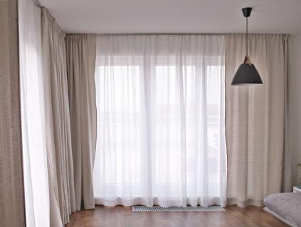 Záclona bílá s řasením 260 cm - 100% len