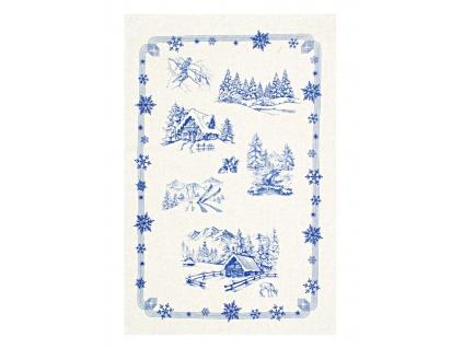 Zima v modrém - lněná utěrka
