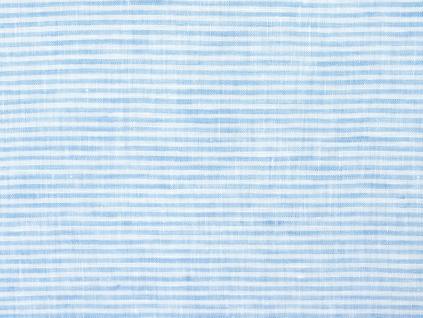 Anita modrý proužek - lněná látka měkčená