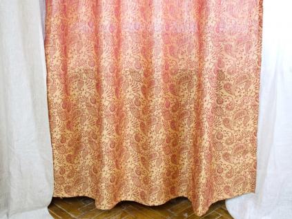 Lněný závěs zlato-červený Amarylis - 150 cm