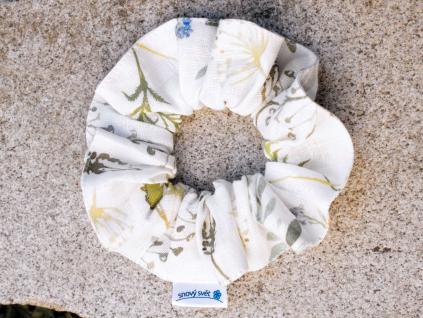 Lněná gumička Scrunchie bylinková louka 5 cm