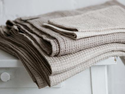 Lněný ručník vaflový natural