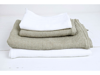 Lněný ručník vaflový bílý - LP0031