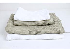 Lněný ručník vaflový bílý