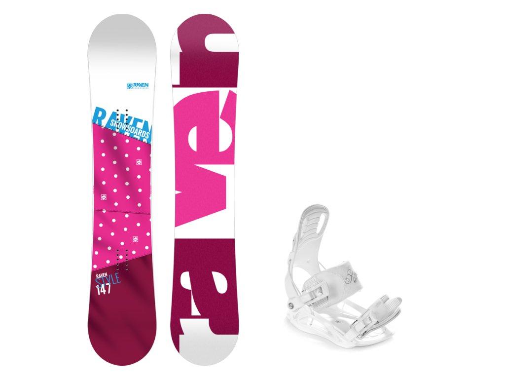 Snowboard komplet Raven Style pink + vázání Luna