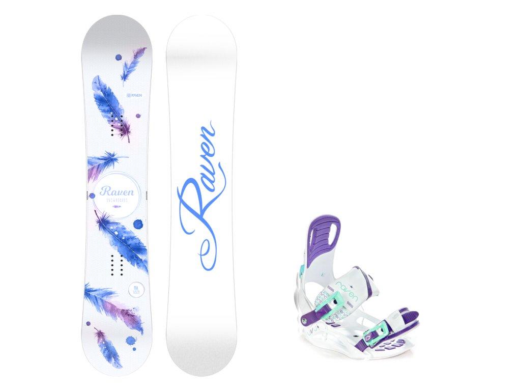 Snowboard komplet Raven Mia white + vázání Starlet white