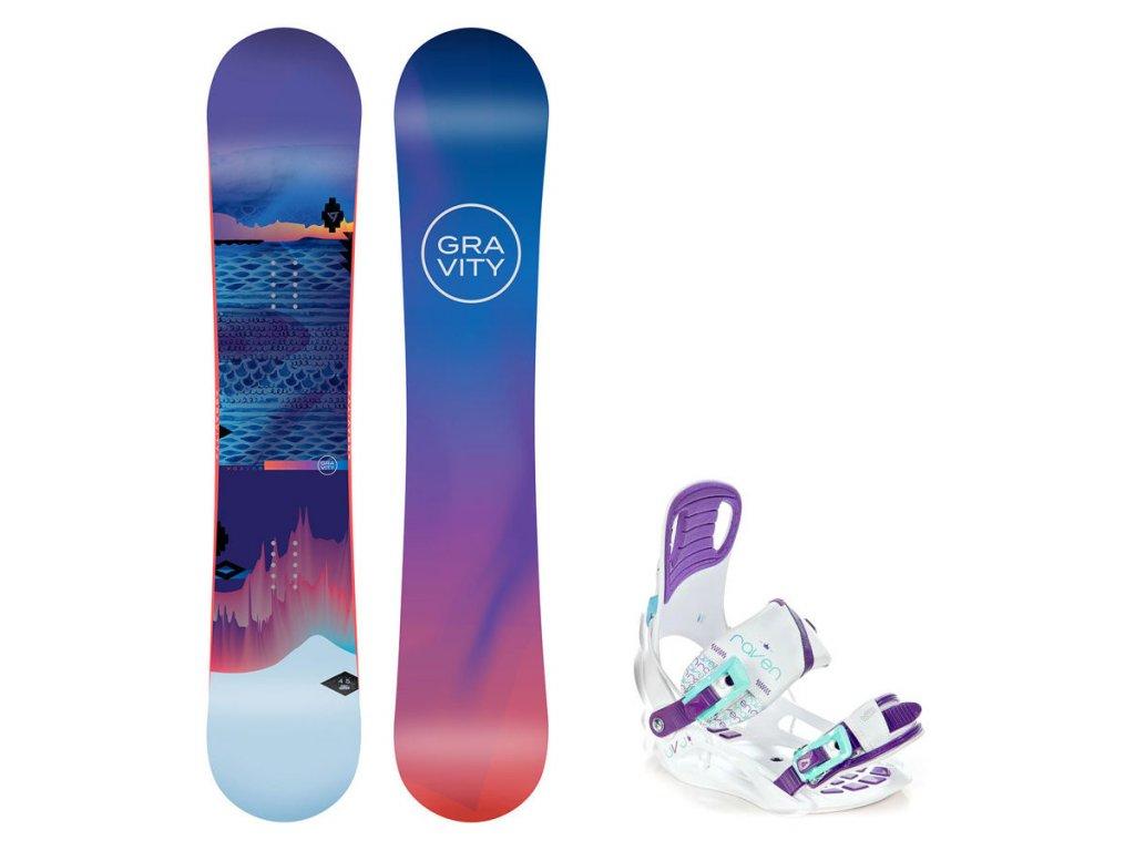Snowboard komplet Gravity Voayer 19/20 + vázání Starlet white
