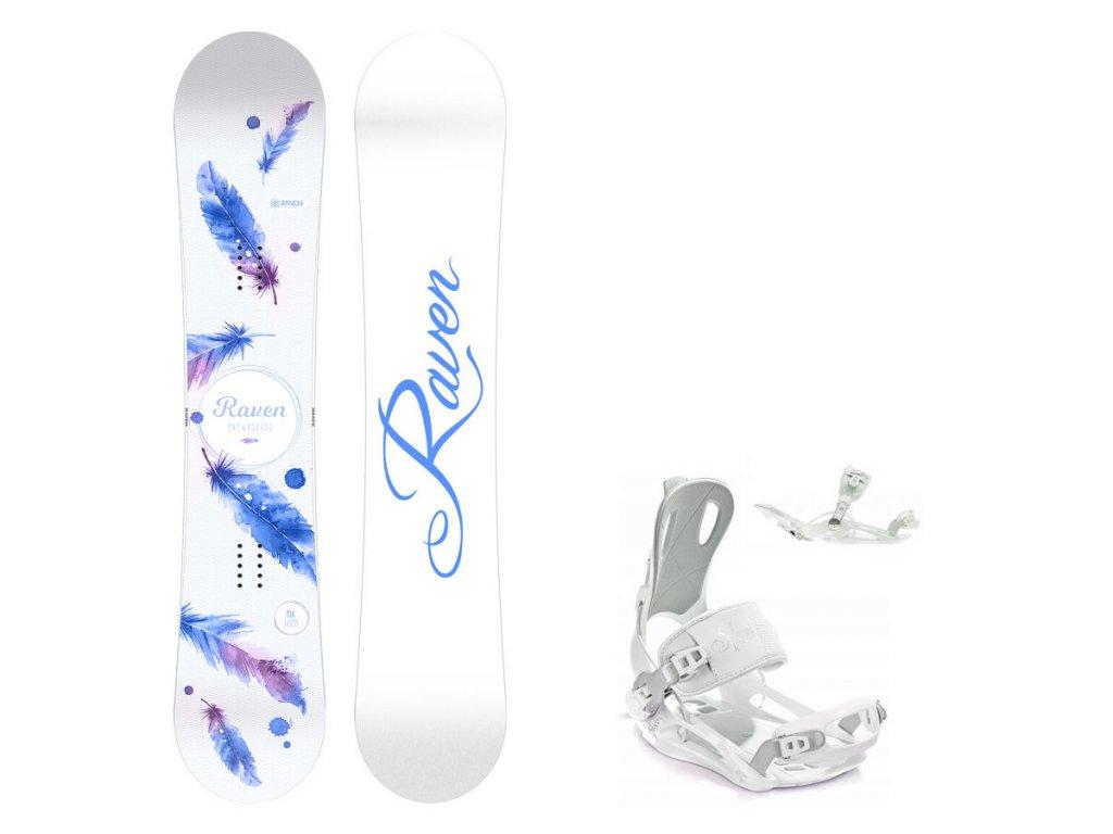 Snowboard komplet Raven Mia white + vázání Fastec