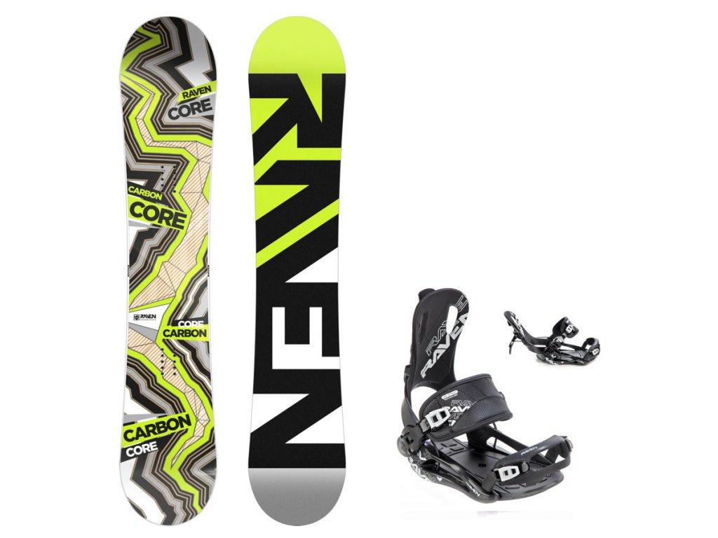 Snowboard komplet Raven Core carbon + vázání Fastec