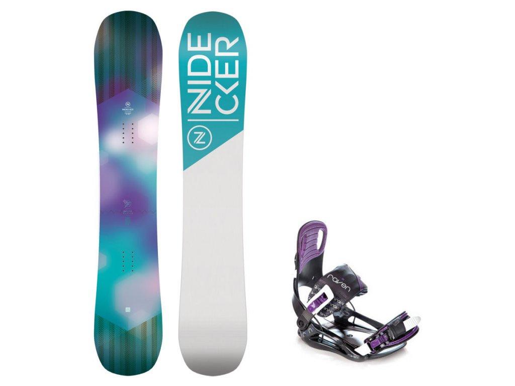 Snowboard komplet Nidecker Angel + vázání Starlet violet