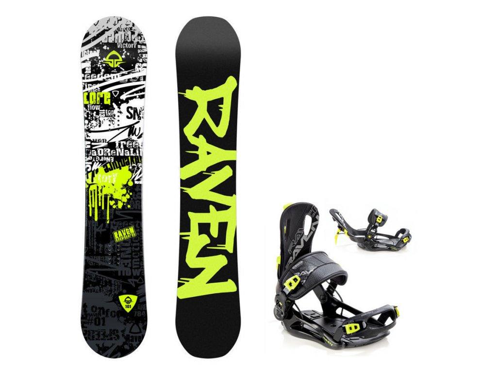 Dětský snowboard komplet Raven Core + vázání Fastec lemon
