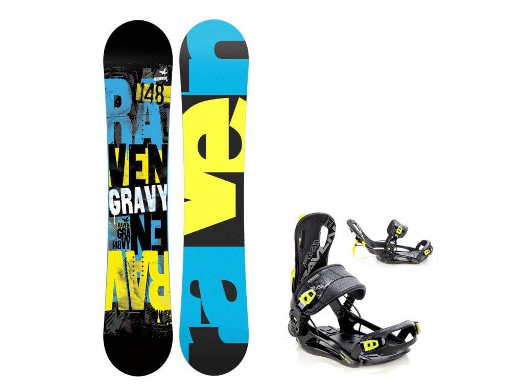 Dětský snowboard komplet Raven Gravy + fastec lemon