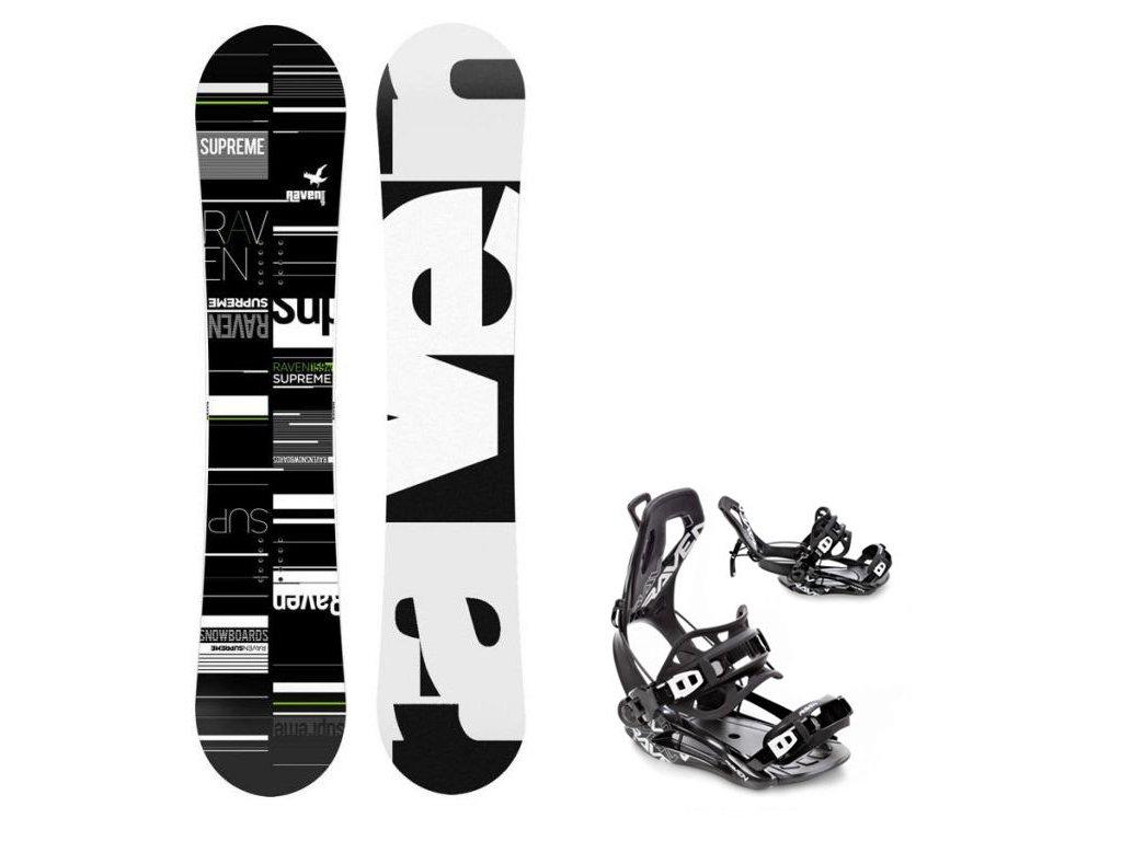 Snowboard komplet Raven Supreme + vázání Fastec green