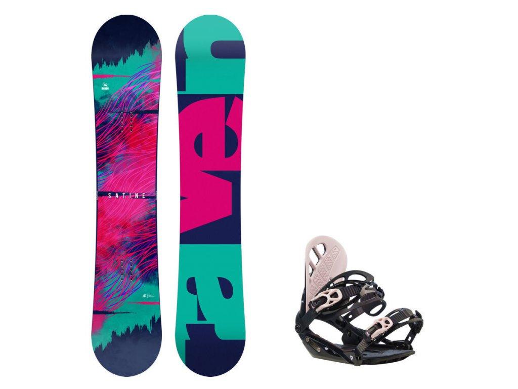 Snowboard komplet Raven Satine + vázání G1 black