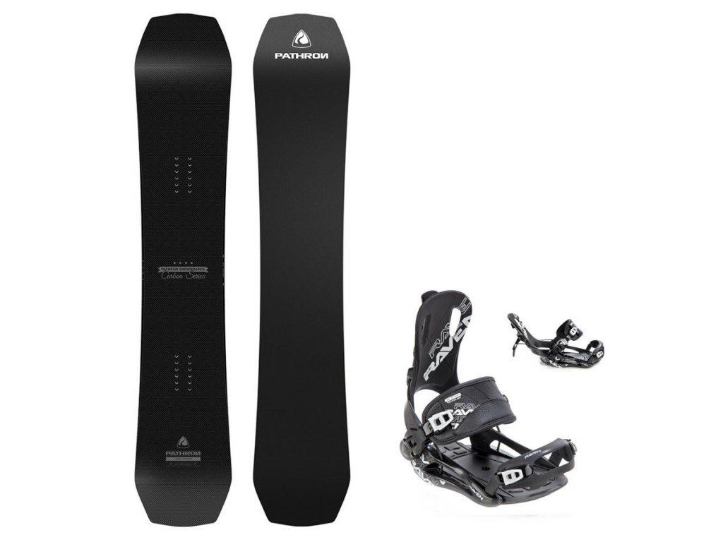 Snowboard komplet Pathron Carbon silver + vázání Raven Fastec
