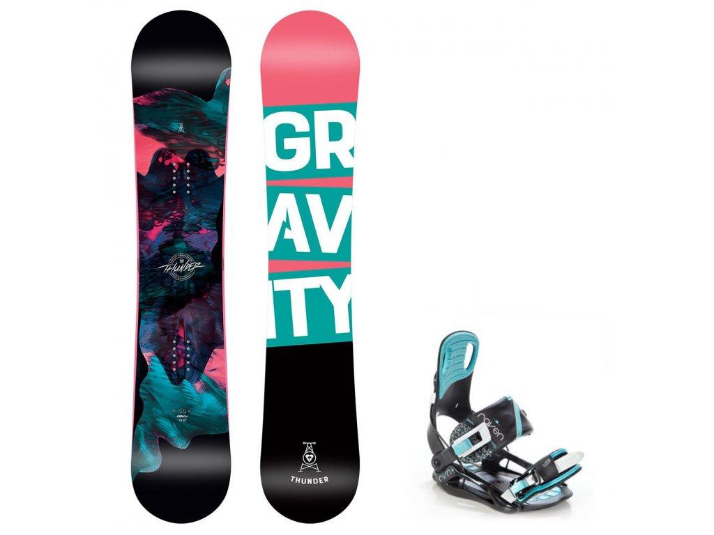 snowboard komplet gravity thunder starlet mint
