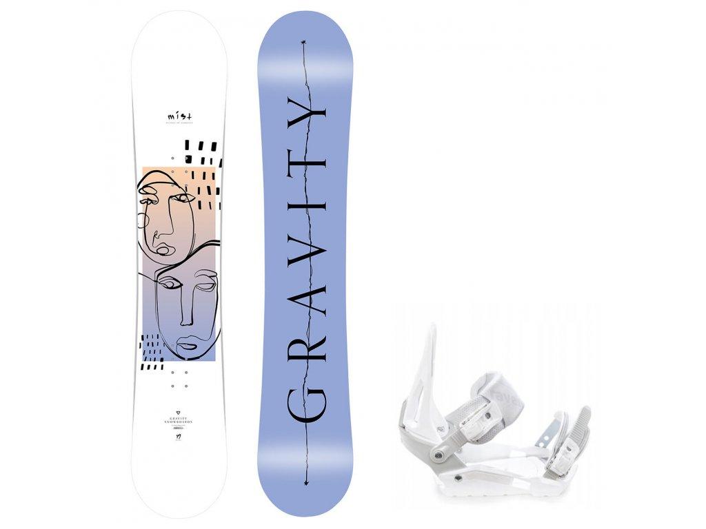snowboard komplet gravity mist s200 white