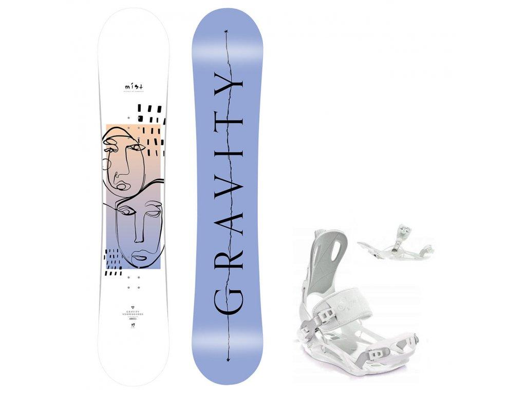 snowboard komplet gravity mist fastec white