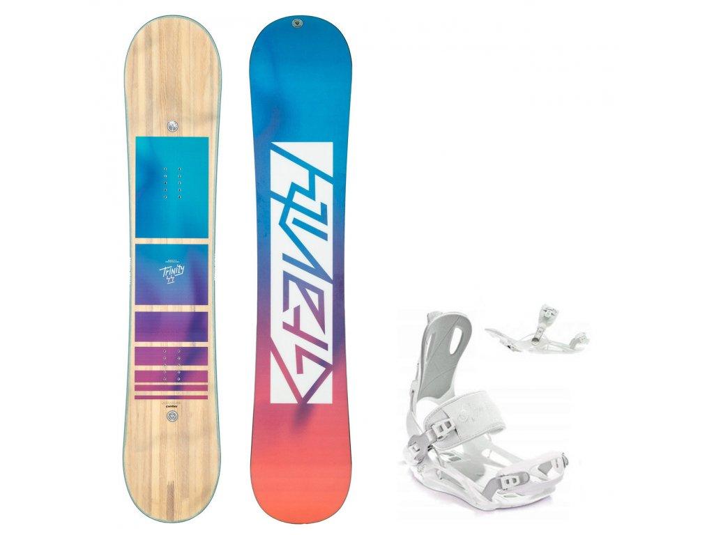 snowboard komplet gravity trinity fastec white