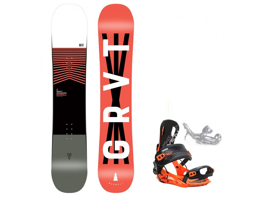 snowboard komplet gravity madball fastec orange