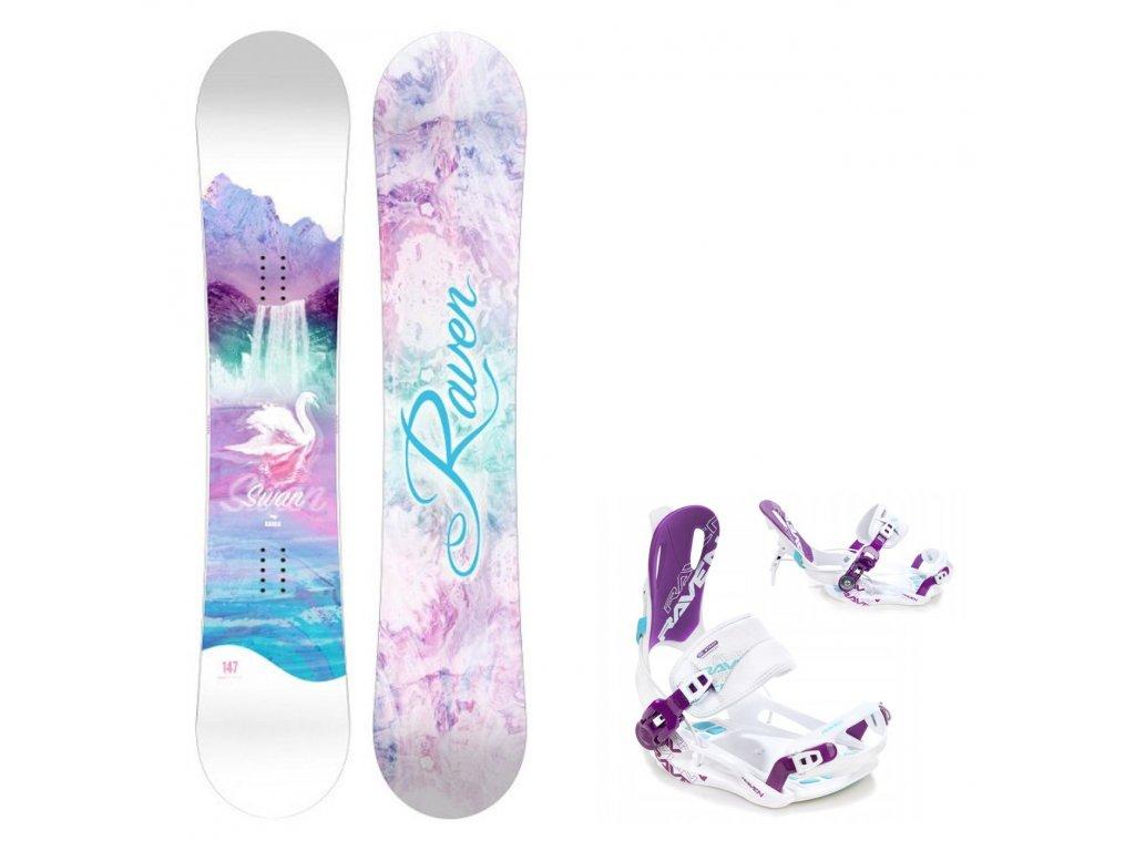 snowboard komplet gravity swan fastec white blue