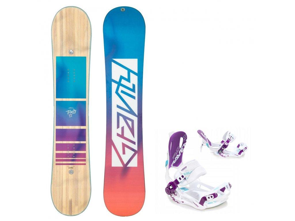 snowboard komplet gravity trinity fastec white blue