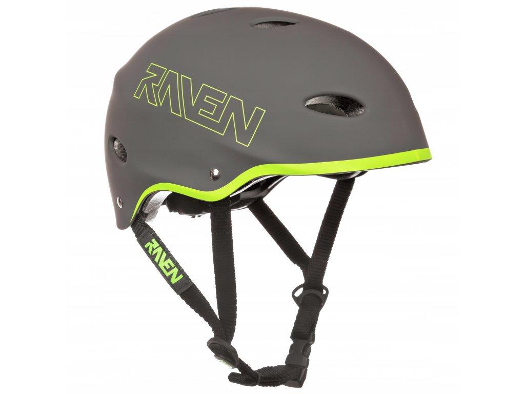Kask Skateboardowy RAVEN F511 Grey Lime M 56 58