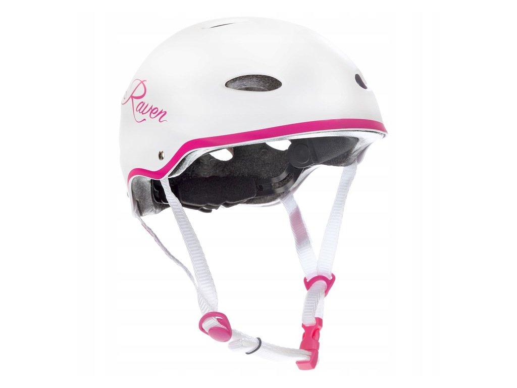 Kask Skateboardowy RAVEN F511 White Pink S