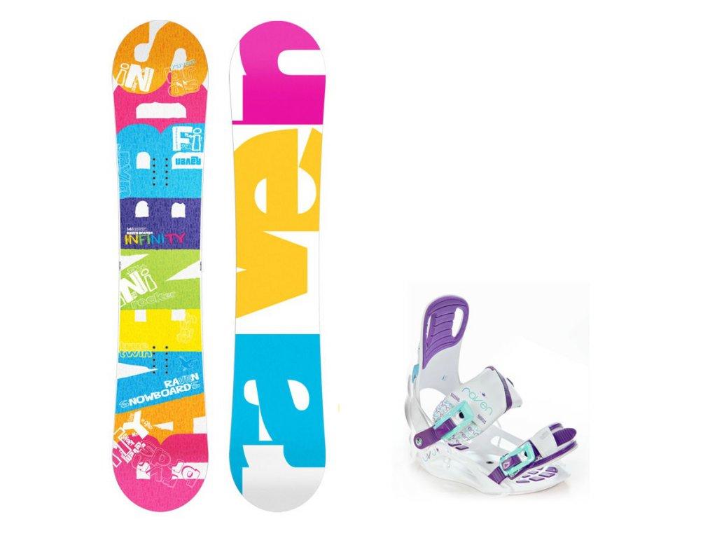 Snowboard komplet Raven Infinity + vázání Starlet white